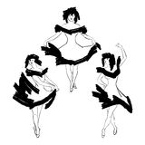 Cabaret dancer  silhouettes set Stock Photos