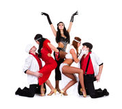 Cabaret dancer team dressed in vintage costumes Stock Images
