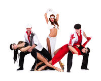 Cabaret dancer team dressed in vintage costumes Stock Photography