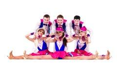 Cabaret dancer team dressed in vintage costumes Stock Images