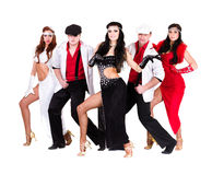 Cabaret dancer team dressed in vintage costumes Royalty Free Stock Image