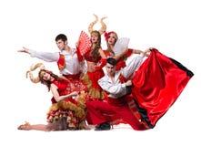 Cabaret dancer team dancing. Isolated on white background in full length. Stock Image