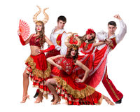 Cabaret dancer team dancing. Isolated on white background in full length. Stock Photography