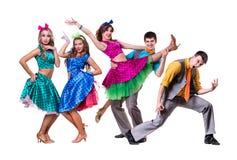 Cabaret dancer team dancing.  Isolated on white Stock Photo