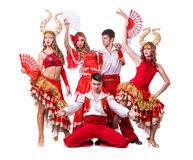 Cabaret dancer team dancing.  Isolated on white Royalty Free Stock Photos