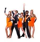 Cabaret dancer team dancing.  Isolated on white Stock Image