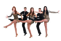 Cabaret dancer team dancing.  Isolated on white Royalty Free Stock Image