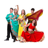 Cabaret dancer team dancing.   on white Stock Photography