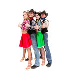 Cabaret dancer team dressed in cowboy costumes Stock Photography
