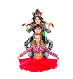 Cabaret dancer team dressed in cowboy costumes Royalty Free Stock Photo