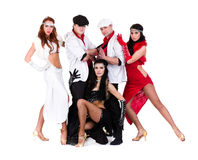 Cabaret dancer team dressed in vintage costumes Royalty Free Stock Images