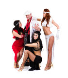 Cabaret dancer team dressed in vintage costumes Royalty Free Stock Photography