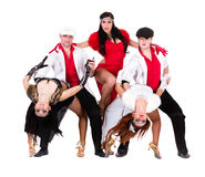 Cabaret dancer team dressed in vintage costumes Royalty Free Stock Photo