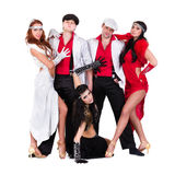 Cabaret dancer team dressed in vintage costumes Stock Image
