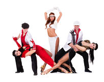 Cabaret dancer team dressed in vintage costumes Royalty Free Stock Photos