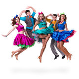 Cabaret dancer team jumping. Isolated on white background in full length. stock photo