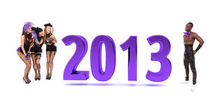 Cabaret dancers with Happy New Year 2013 Stock Images