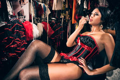 Cabaret female dancer in dressing room Royalty Free Stock Photography