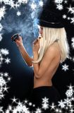 Cabaret girl with cigar, grenade and snowflakes Royalty Free Stock Photo