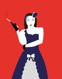 Cabaret girl with cigarette Stock Images