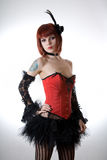 Cabaret girl in red corset royalty free stock photos