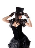 Cabaret girl in top hat. Isolated on white background, Halloween theme Royalty Free Stock Photo
