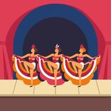 Cabaret girls dancing cancan on stage. Vector. Women dancers in musical show performance in retro dress costumes and feather headwear vector illustration