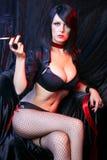 Cabaret Lady Smoking Royalty Free Stock Images