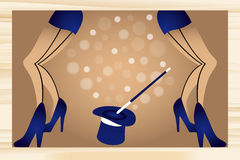 Cabaret. Legs of girls in blue high heels and mini skirts , in the middle a blue hat and wand, cabaret retro illustration royalty free illustration