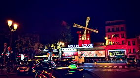 Cabaret Moulin Rouge by night. Paris, France stock footage