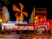 Cabaret Moulin Rouge at Night, Paris Stock Photos
