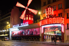 The cabaret Moulin Rouge. Royalty Free Stock Photo