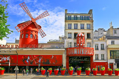 Cabaret Moulin Rouge. PARIS - MAY 28, 2016: Moulin Rouge. Moulin Rouge is a famous Parisian cabaret built in 1889, located in red-light district of Pigalle on stock photos