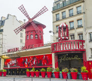 Cabaret Moulin rouge or Red mill in paris Stock Photos