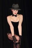 Cabaret Sexy Lady In Black Stock Photos