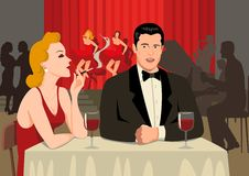 Cabaret Show. Stock illustration of a couple at the restaurant royalty free illustration