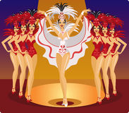 Cabaret showgirls. Dancing on the stage Stock Image