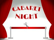 Cabaret on stage, red ribbon and scissors Royalty Free Stock Photo