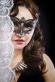 Hiding bride, Wedding decoration, Fine-art portrait of elegant g Stock Photos