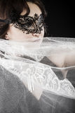 Hiding bride, Wedding decoration, Fine-art portrait of elegant g Royalty Free Stock Image