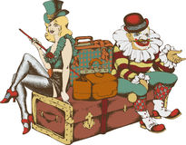 Cabaretier en clown met koffers Stock Foto