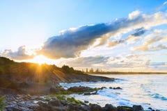 Cabarita beach at sunset stock images