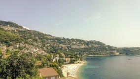 Cabbé海滩在海湾蓝色的在盖帽马丁,法国海滨 库存照片
