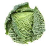 Cabbage. Ripe Savoy Cabbage Isolated on White Background with clipping path Stock Photo