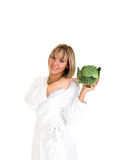 Cabbage. Young girl holding the cabbage. Focused on eyes. Isolated on the white Stock Image