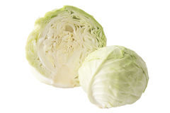 Cabbage. Fresh green cabbage fruit with cut isolated on white background stock images