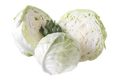 Cabbage. Fresh green cabbage fruit with cut isolated on white background royalty free stock image
