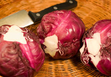 Cabbage. Red cabbage in a straw basket royalty free stock image