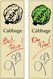 Cabbage. Two Price Tags with Vintage Effect Royalty Free Stock Image