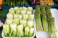Cabbage and asparagus on Naschmarkt in Vienna, Austria Stock Photography